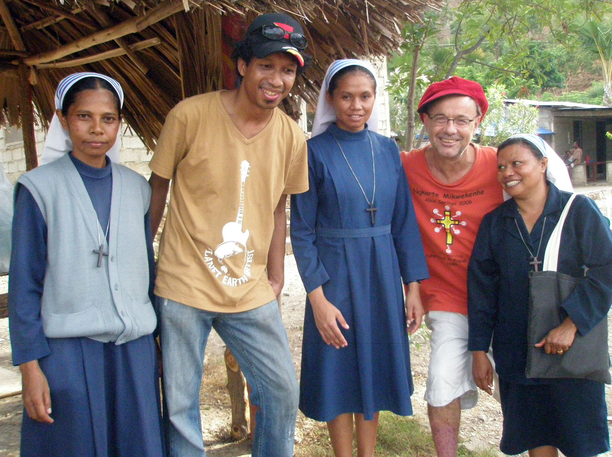 Paul Stewart and Gill Santos with the ALMA Nuns in Dili, Timor-Leste